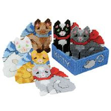 Herrschners: Kitten Coasters with Holder Set of 6 (SKU: AN270020) $12.99 -->for Jean
