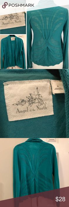 Anthro Angel of the North open cardigan Such a gorgeous lightweight cardigan to take you straight into spring. The design on the back is the best detail of this sweater along with the teal green color. Open front. Measures approx 24 inches in length. Anthropologie Sweaters Cardigans