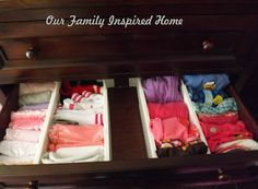Our Family Inspired Home: Organizing The Dresser Drawers