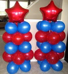 great colors for a Spiderman party...endless possibilies with a change of color palettes...love the simplicity but makes a statement at a party...bottom layer make water filled balloons(inserting a seperate water filled balloon inside the blue ones and tie)...then the next 4 layers just blow up the balloons...then add a helium filled mylar at the top and it will make this float...how easy is that..