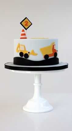 Boys birthday digger construction cake