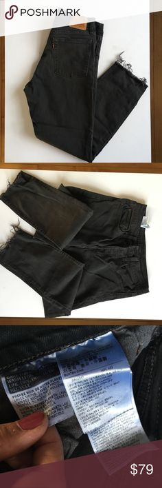 Levi's black wedgie jeans size 30 Levi's wedgie jeans. Black with cutoff bottoms (originally purchased that way). Size 30. Open to accepting offers, and thanks for looking! Levi's Jeans Ankle & Cropped
