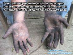 Vous avez l'habitude de faire de la mécanique ou vous venez de changer une roue ? Alors vous connaissez les mains très sales, pleines de cambouis. L'astuce pour enlever le cambouis sur ses mains est d'utiliser du vinaigre blanc et de la farine. Regardez.  Découvrez l'astuce ici : http://www.comment-economiser.fr/nettoyer-ses-mains-apres-mecanique.html?utm_content=bufferb45e8&utm_medium=social&utm_source=pinterest.com&utm_campaign=buffer