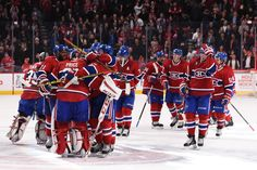 Wings vs Habs - the Habs celebrate Pricer's win of the season - Photo by Francois Lacasse/NHLI via Getty Images Hockey Teams, Hockey Players, Ice Hockey, Montreal Canadiens, Embedded Image Permalink, Nhl, Sports, Wings, Canada