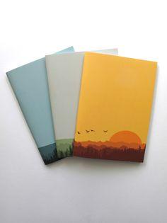 """Paisajes"" - 3 Notebook from telapapeltijeras.com (by vestidadeflores)"