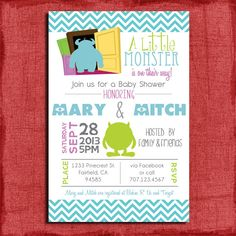 Monster's Inc. inspired printable baby shower invitation.