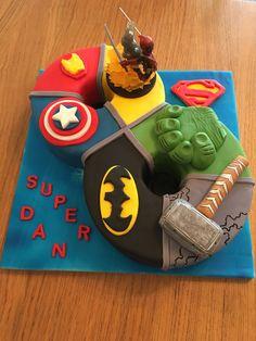 Superhero birthday cake for 8 year old boy