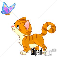 CLIPART KITTEN PLAYING WITH BUTTERFLY