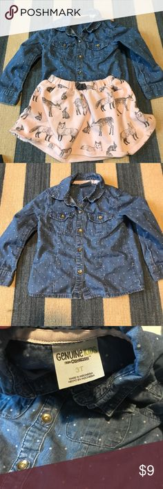 2 Piece Girls 3T Genuine Kids Skirt & Denim Shirt Cute 2 piece outfit for 3T girls from Genuine Kids by Oshkosh. Button down denim top and animal print pink skirt.  In good used condition. No rips, tears, or stains. From a pet and smoke free home. Genuine Kids Matching Sets