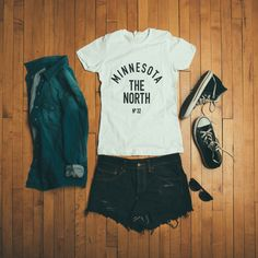 Outfit layout from Sota Clothing photo shoot yesterday. Show casing the new Minnesota - The North boyfriend tee.