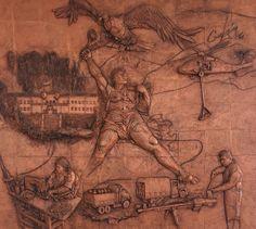 """Mural en honor a la Logística en casino de cadetes. Escuela Militar de Cadetes """"General José María Córdova"""" (ESMIC) del Ejército de Colombia. Bogotá- Colombia."""
