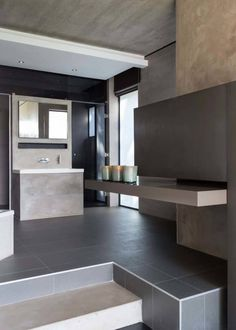 Imposing concrete, glass and steel residence in South Africa Modern Bathroom Design, Modern House Design, Master Suite, Indoor Outdoor, Modern Vanity Lighting, Architect House, Facade House, Contemporary Bedroom, My Dream Home