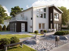 Grönskär är ett hus byggt i funkis och är lämpligt för barnfamiljer på lite mindre tomter. Huset från Myresjöhus har även en inglasad veranda.