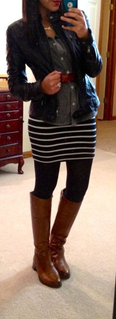 belted chambray shirt over striped dress, leather jacket, tights  riding boots