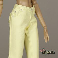 ELENPRIV Pale yellow leather pants for Fashion royalty by elenpriv