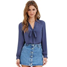Tie Up Dressy Spring 2016 Women Blouses V Neck Black Chiffon Blouse Long Sleeve Shirt Women Tops Blue Ladies Office Shirt