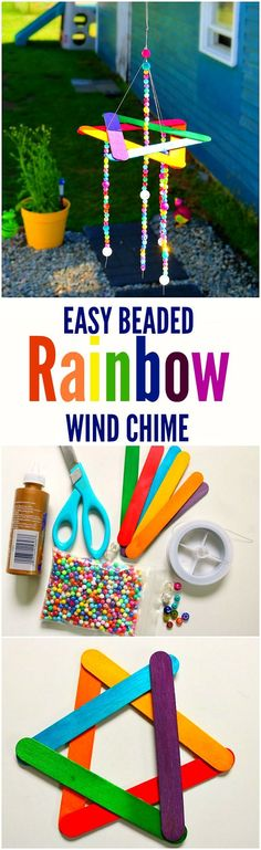 Easy Beaded Rainbow Wind Chime Kids Craft - This easy wind chime kids craft will make a cute addition to your garden!