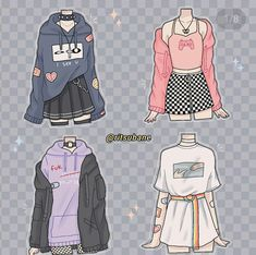 Teen Fashion Outfits, Anime Outfits, Retro Outfits, Cute Casual Outfits, Fashion Art, Fashion Design Drawings, Fashion Sketches, Kleidung Design, Drawing Anime Clothes