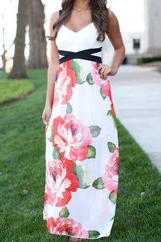 Floral Splicing Sleeveless Maxi Dress