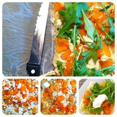 pumpkin tarte with rucola and goatcheese