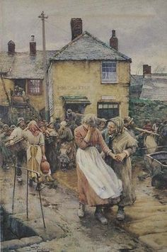 Among the Missing - Scene in a Cornish Fishing Village.  	Langley, Walter, 	1884