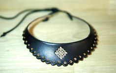 Leather lace necklace by ArteideStudio on Etsy