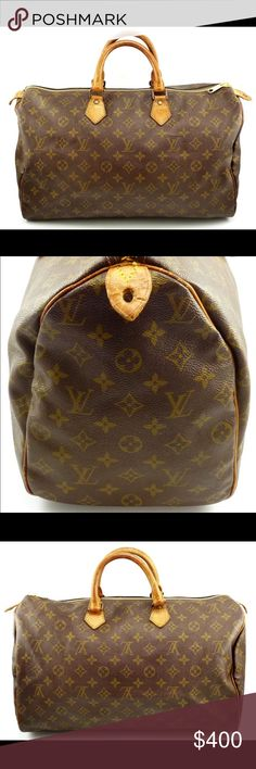 Louis Vuitton Auth Speedy 40 Monogram Canvas Bag Authentic LV Speedy 40. The perfect size for a weekend get away! Iconic Monogram Canvas with vachetta leather accents this bag is in good pre-owned condition. Please note that the zipper and pull have been replaced. No rips in the canvas. Made in France. Please feel free to ask any questions. Sorry no trades at this time. 103284 Louis Vuitton Bags Travel Bags