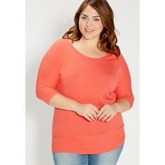 maurices Plus Size - The Dolman Pullover ($39) ❤ liked on Polyvore featuring tops, coral pop, plus size, red top, plus size red sweater, plus size tops, red pullover sweater and plus size red tops
