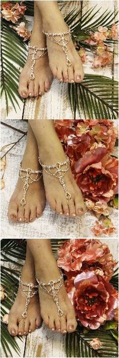 Rose gold and blush rhinestone barefoot sandals! Rose gold the latest trend in wedding jewelry. Fast and Free shipping at Catherine Cole Studio