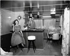 Home bar in basement - popular renovations of the 50's & 60's. I'd love to hang out down there! LoL!