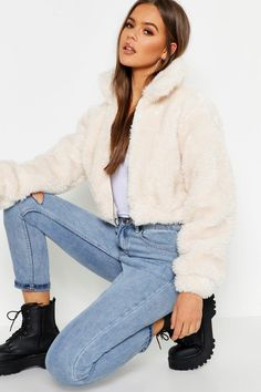 Fur Bomber, Bomber Jacket, Faux Shearling Jacket, Faux Fur, Girls Crop Tops, Cute Comfy Outfits, Winter Outfits, Jackets, Clothes