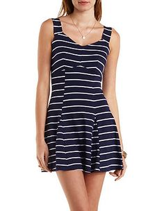 Nautical Striped Skater Dress: Charlotte Russe