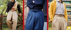 Japanese fashion company brings modern-day samurai look with hakama chino pants. Comfy looking, and the blue will go with my swords!