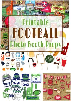 Printable Football Photo Booth Props for the coolest Super Bowl party Football Banquet, Football Themes, Football Photos, Football Parties, Tailgate Parties, Football Stuff, Tailgating, Diy Photo Booth Props, Photo Booth Frame
