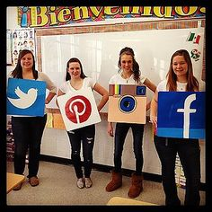 Mind-Blowing DIY Halloween Costumes For Women Social Media Platform Can't get enough Become it! Paint the platform's logo onto cardboard and wear it throughout Halloween… 3 People Halloween Costumes, Boxing Halloween Costume, 3 People Costumes, Teacher Costumes, Diy Halloween Costumes For Women, Cheap Halloween, Homemade Halloween, Easy Halloween Costumes, Group Costumes