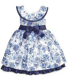 Nannette Little Girls' Printed Swiss-Dot Dress sizes macys African Dresses For Kids, Little Dresses, Little Girl Dresses, Girls Frock Design, Baby Dress Design, Baby Frocks Designs, Kids Frocks Design, Kids Blouse Designs, Baby Girl Frocks