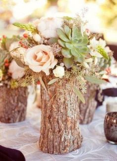 Log_Vase_Centerpieces