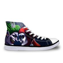 2016 Hot Sale Men Casual High-top Shoes Funny Harley Quinn and Joker Shoes Cartoon Canvas Shoes Women Flats Sport Zapatos Mujer(China (Mainland))