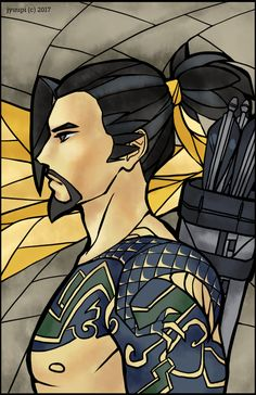 One of a series of Overwatch characters in the stained glass style. -- Paint Tool SAI