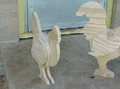 Hen and Rooster on back porch, just cut out and assembled
