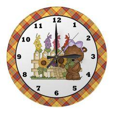 Floral Bear kids room wall clock