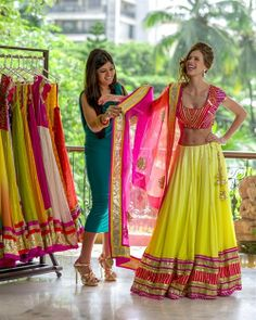 Pink and Yellow Lengha Choli