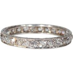 Vintage Edwardian Diamond Eternity Band Platinum Wedding Band at rubylane.com #weddingjewelry #bridal #vintagebeginshere #DiamondEternityRings