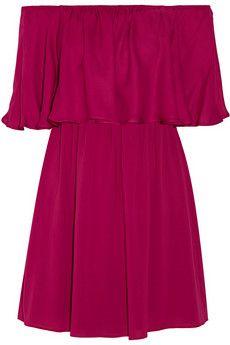 Alice + Olivia Dora off-the-shoulder stretch-silk chiffon mini dress | NET-A-PORTER