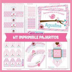 Kit Imprimible Pajaritos rosa para cumpleaños, Baby shower