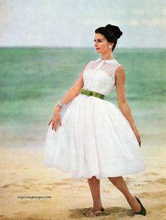 shirtdress 1960s white sheer full skirt dress green bow belt vintage fashion style photo print ad model magazine party cocktail day sleeveless collar