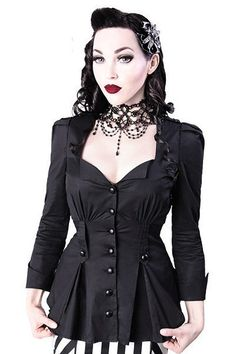 Lucy Black Gothic Blouse by Restyle – cool military-style blouse which can be worn with a black pencil skirt or simple black trousers for a casual look! It features black buttons at the front and centre straps at the waist!
