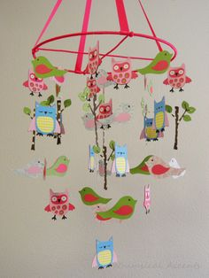 Owl, Bird, Tree Paper Baby Mobile by whimsicalaccents on Etsy