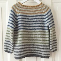 Image of Stribet Lama Str. Boys Knitting Patterns Free, Knitting For Kids, Baby Barn, Pulls, Green And Grey, Wool Felt, Free Pattern, Knitwear, Ravelry