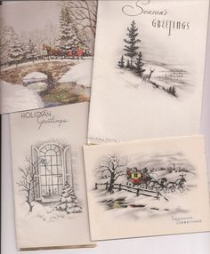 Old Fashioned Christmas Snow Scenes, vintage Christmas cards